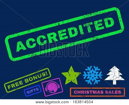 Accredited text rubber seal stamp watermark with bonus christmas symbols. Caption inside rectangular banner with grunge design and dirty texture.