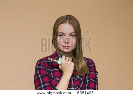 vape girl in the red shirt smoking electronic cigarette