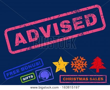 Advised text rubber seal stamp watermark with additional bonus new year symbols. Caption inside rectangular shape with grunge design and scratched texture.
