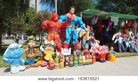 Quito, Pichincha / Ecuador - December 31 2016: Popular sale of dummies made of newsprint to celebrate the new year in La Carolina Park in the north area of the city. Traditional habit in Quito