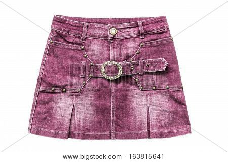 Pink denim mini skirt isolated over white