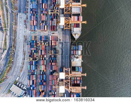 Aerial Topdown Shot Of Large Bangkok Shipping Port