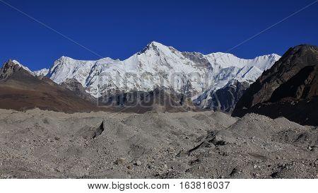 High mountain Cho Oyu. Everest National Park Nepal. Gokyo valley.