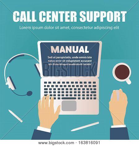 Call center concept overhead desktop view vector illustration