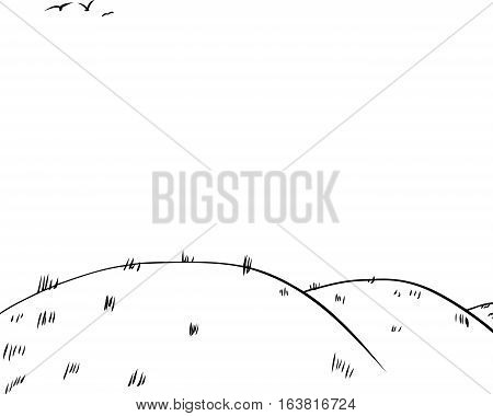 Background Of Rolling Hills As Outline Sketch