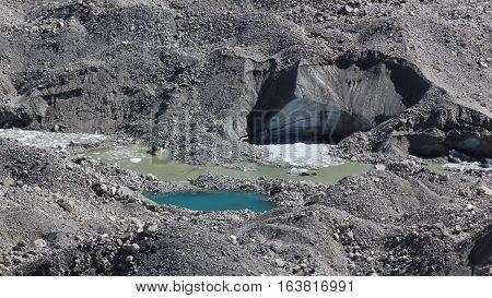Scene in Gokyo Everest National Park. Detail of the Ngozumpa glacier.