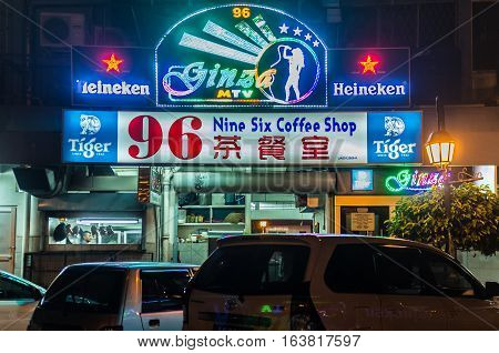 Labuan,Malaysia-Jan 3,2017:Labuan island is well known for its duty free especially alcohols.The main entertainment in Labuan is its night clubs & lounges,which attracts many tourist to visit Labuan