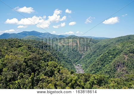 aerial of barron gorge national park mountains and hydroelectric power station near cairns in queensland australia