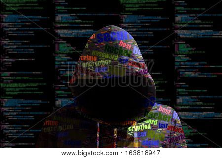 Hacker in a green hoody standing in front of a code background with binary streams and colored information security terms cybersecurity concept
