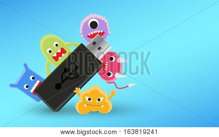 usb flashdrive with a virus computer infected