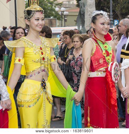 QUARTU S.E. ITALY - July 13, 2013: International Festival of folklore