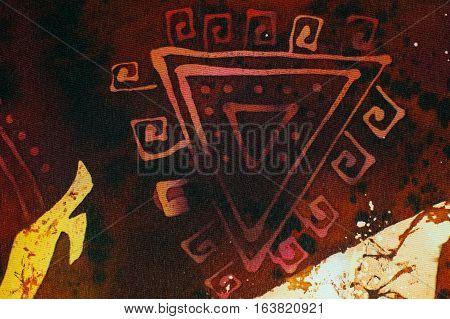 Capricorn Symbol, Hot Batik, Background Orange And Red Texture, Handmade On Silk, Abstract Surrealis