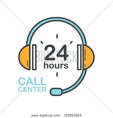 Call center headset icon. Support service sign. Flat design vector illustration.