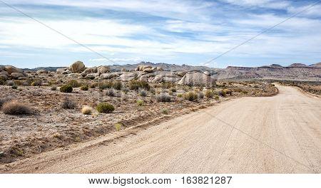 Mojave Desert Road In Sunset