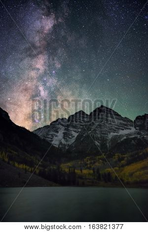 Milky Way Over Maroon Bells Colorado, Fall