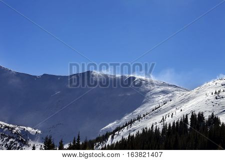 Winter Snow Mountains At Sunny Windy Day