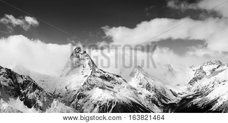 Black And White Panoramic View On Winter Mountains In Snow
