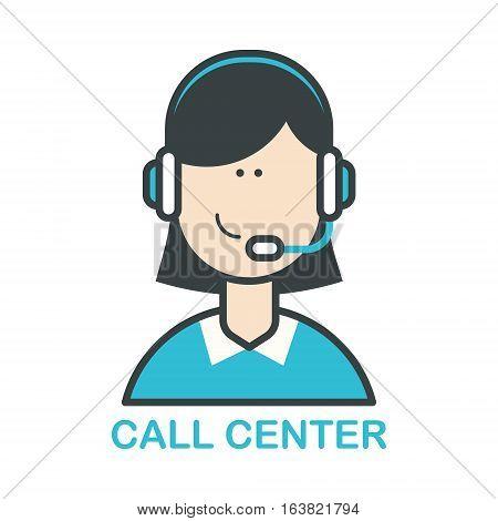 Call center operator icon. Flat design vector illustration.