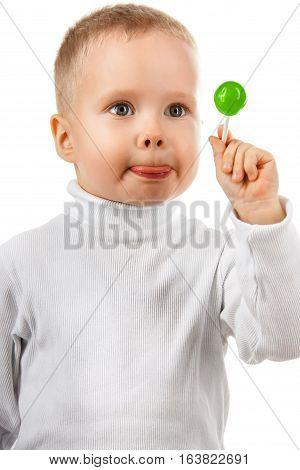 Happy Baby Boy Eating Candy Lollipop,