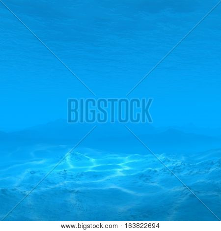 empty underwater background with caustic 3d rendering