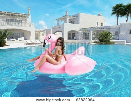 3d rendering. beautiful girl having fun with a pink flamingo float in pool.