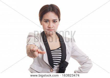 Young Asian Business Woman Angry And Point To Camera.
