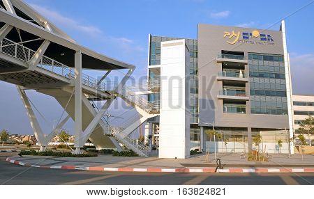 BEER SHEVA ISRAEL - DECEMBER 24 2016: Footbridge and the building in the High-Tech Park Gev Yam Negev in Beer Sheva