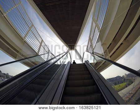 BEER SHEVA ISRAEL - DECEMBER 24 2016: Futuristic footbridge in the High-Tech Park Gev Yam Negev. Architectural style of high-tech. Taken fisheye