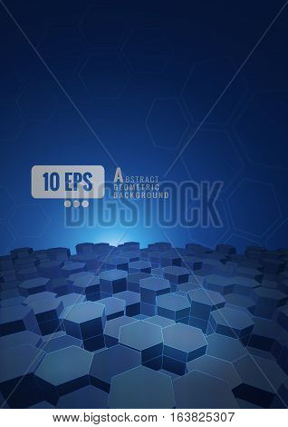 Abstract hexagonal background on dark blue tone with space for your text and headline A4