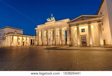 The famous Brandenburger Tor in Berlin illuminated at night