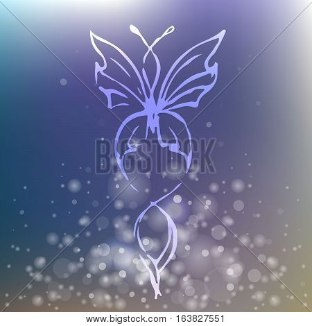Elegant sparkling butterfly on blurred background with lights