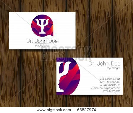 Psychology vector visit card. Modern logo. Creative style. Design concept. Brand company. Violet color isolated on tree background. Symbol for web, print. vVsiting personal set illustration