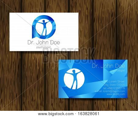 Psychology vector visit card. Modern logo. Creative style. Design concept. Brand company. Blue color isolated on tree background. Symbol for web, print. vVsiting personal set illustration