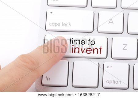 Time to invent word written on computer keyboard.