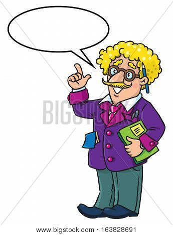 Childrens vector illustration of funny scientist or inventor. A man in glasses and suit, raised index finger. Profesion ABC series. With balloon for text
