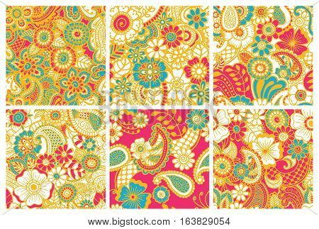 Paisley mehndi seamless colorful patterns collection. Set of patterns. Vector illustration