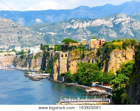 View of the coast in Sorrento at Italy.