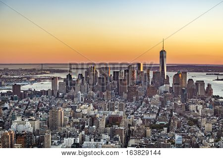 Spectacular Skyline  Of New York, Manhattan In Sunset