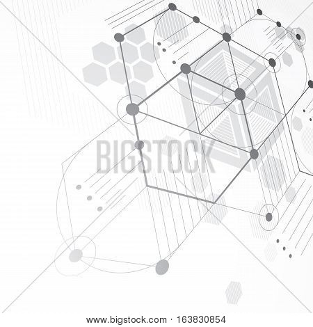 Bauhaus retro perspective black and white art vector background made using lines and honeycombs. Geometric graphic 1960s illustration can be used as booklet cover design.