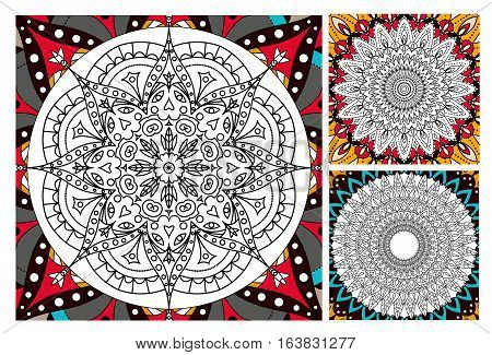 Printable antistress coloring book page for adults - mandala design, activity to older children and relax adult. vector set coloring book Islam, Arabic, Indian motifs. Oriental colorful mandala.