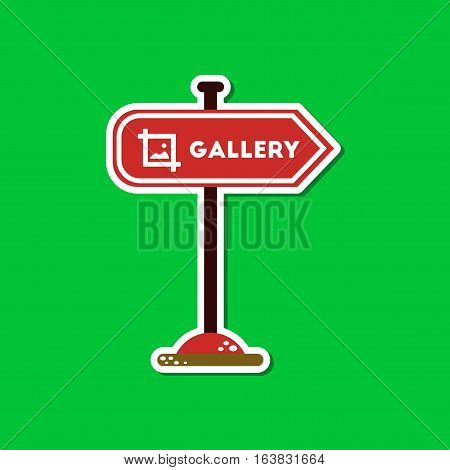 paper sticker on stylish background of sign gallery