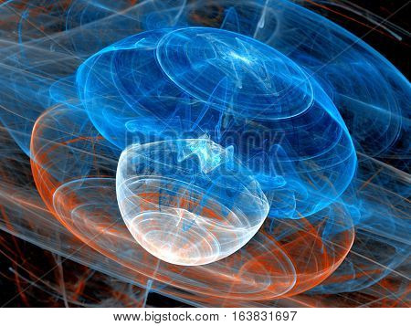 Colorful plasma waves in space computer generated abstract background 3D render