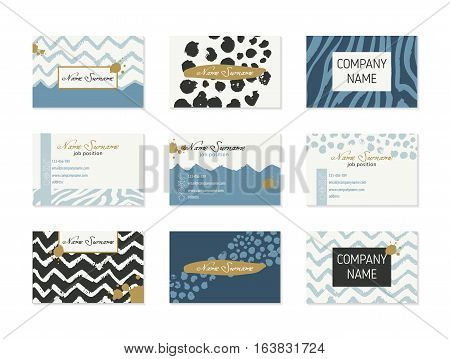 Set of Business Cards with hand drawn design elements made with ink in black, white, blue and gold colors. Modern abstract style for identity design. Vector illustration.