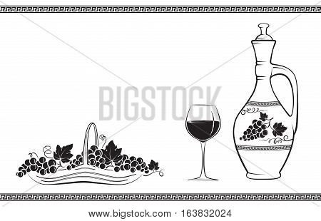 Wine jug decorated with grape and leaves, glass of wine, basket with grapes and Greek traditional pattern. Black decorative elements.