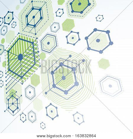 Bauhaus retro perspective green art vector background made using lines and honeycombs. Geometric graphic 1960s illustration can be used as booklet cover design.