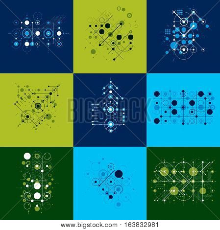 Set of vector abstract backgrounds created in Bauhaus retro style. Modern geometric composition can be used as templates and layouts.