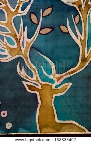 Golden Deer, Turquoise, Hot Batik, Background Texture, Handmade On Silk, Abstract Surrealism Art