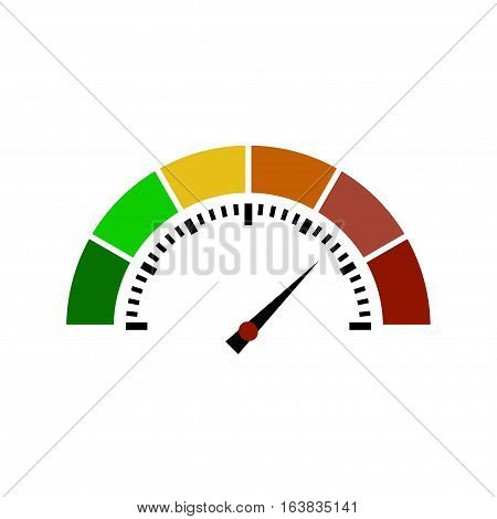 Speedometer flat icon. Sign colorful speedometer. Vector logo for web design, mobile and infographics. Vector illustration eps10. Isolated on white background.
