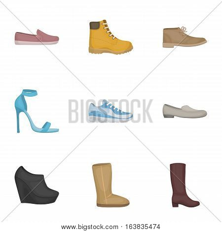 Shoes set icons in cartoon style. Big collection of shoes vector symbol stock