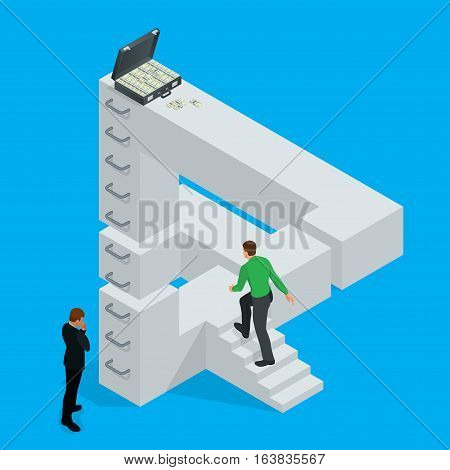 Bussinesman making impossible possible. Business man reaches an impossible goal. Optical Illusion. Isolated vector